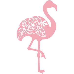 flamingo silhouette floral