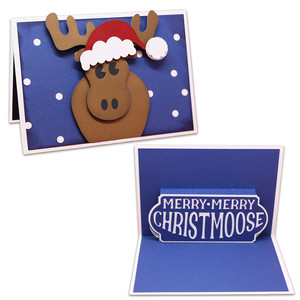 merry christmoose pop-up card