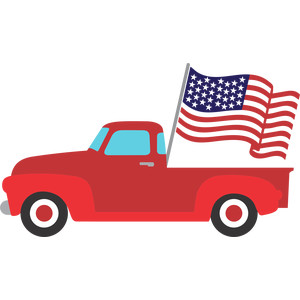 red truck and flag