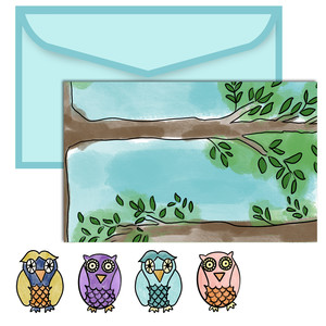 paper doll scene set - owls
