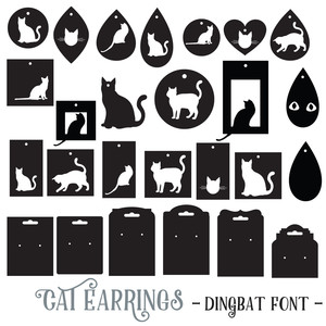 cat earrings dingbat font