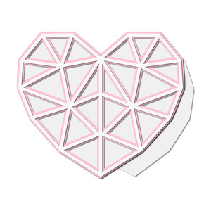 poly heart layered shaped card