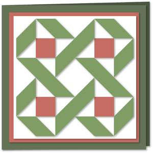 four star twist quilt block card