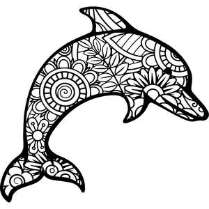 dolphin mandala zentangle
