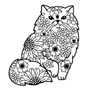 persian cat flower mandala