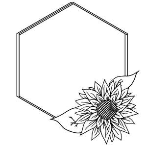 sunflower geometric sketch frame