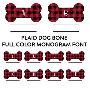 plaid dog bone full color monogram font