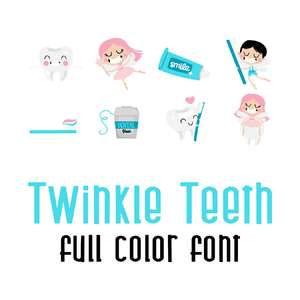 twinkle teeth full color font