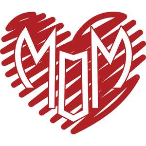 scribbled heart mom