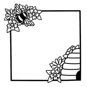 bee hive flower square frame
