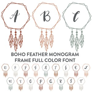 boho feather monogram frame full color font