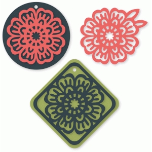ornate flower tag set