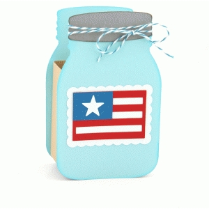 3d mason canning jar flag box