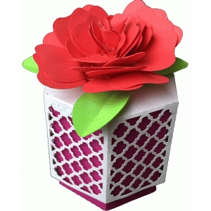 quarterfoil hexagon box and rose