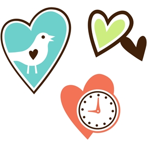 3 image set hearts tweets and time