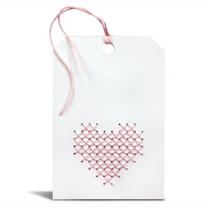 folded tag with heart cross stitch pattern
