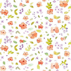 watercolor flowers and leaves pattern