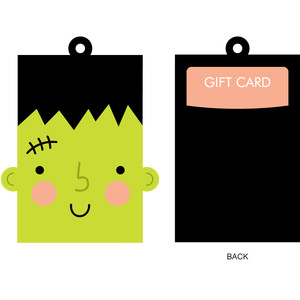 frankenstein gift card holder + gift tag