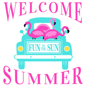 welcome summer flamingo truck