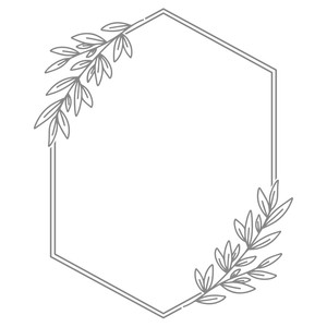 hexagon leaf monogram frame