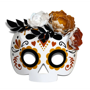 sugar skull mask with 3d flowers