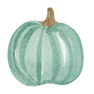 teal watercolor pumpkin