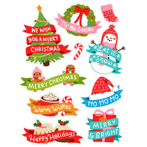 christmas banner stickers