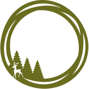 pine trees and deer circle frame