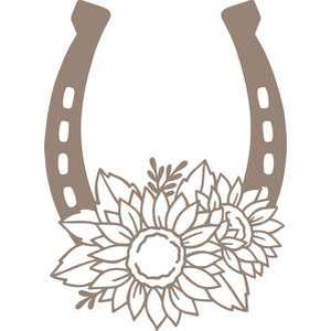 horseshoe with sunflowers