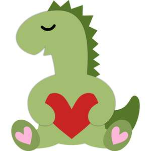 t-rex dinosaur and heart