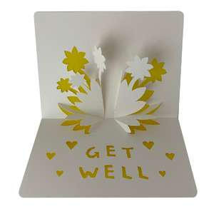 get well - flowers popup card