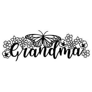 grandma monogram with flowers and butterfly