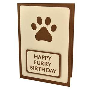 pawprint happy furry birthday stencil card