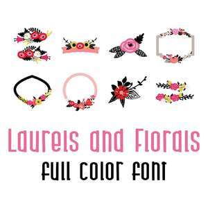 laurels and florals full color font