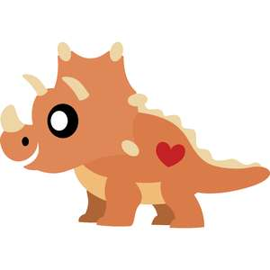 baby triceratops with heart
