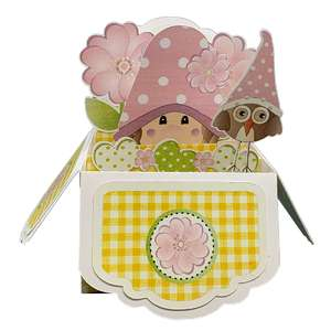 5x7 yellow gnome popup card in a box