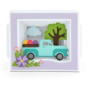 shadow box card easter truck
