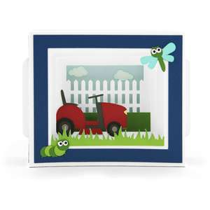 shadow box card lawn mower