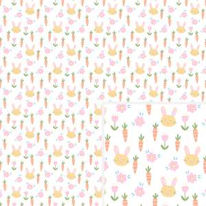 bunny & carrot floral pattern