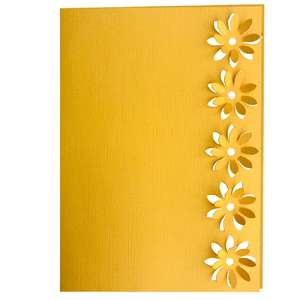 3d celandine flower lace edged card