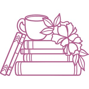 books with coffee and flowers