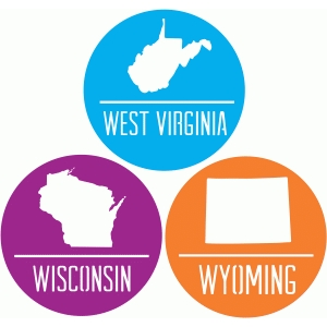state badges - wv wi wy