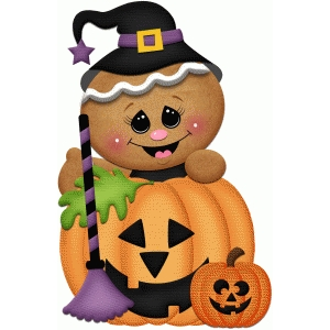 halloween gingerbread witch with broom