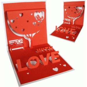 with love pop up card