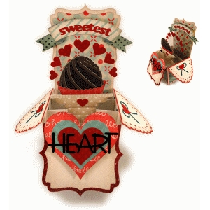 sweetest heart choc val box card