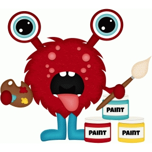 red school monster painting