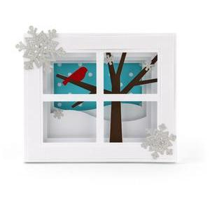 5x7 shadow box card bird in window