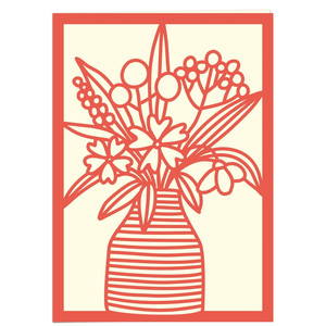 striped jar of flowers card