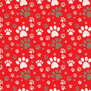 red dog paw pattern