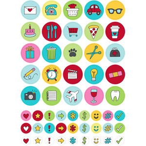 colorful icons planner stickers